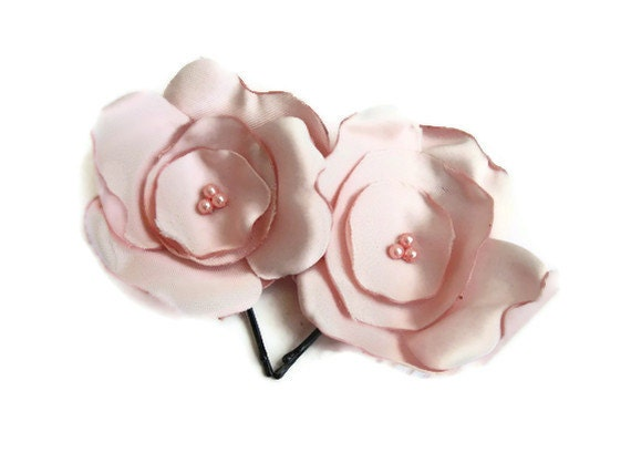 Pastel pink rose hair accessory, fabric flower ,hair clips, prom,hair flower - seragun