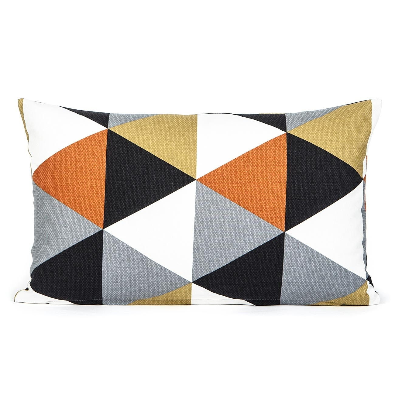 "12"" X 20"" Modern Black, Gray & Persimmon Triangle Pattern Oblong Pillow Cover - BHDecor"