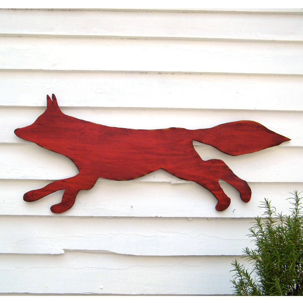 Fox Wooden Sign Red Running Large Scale Shabby Chic Cottage Woodland