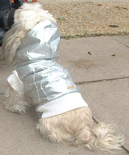 CyberGoth/Raver/Rivethead Silver & Fiber Optic Dog Coat With Detachable Hood-Glow In The Dark