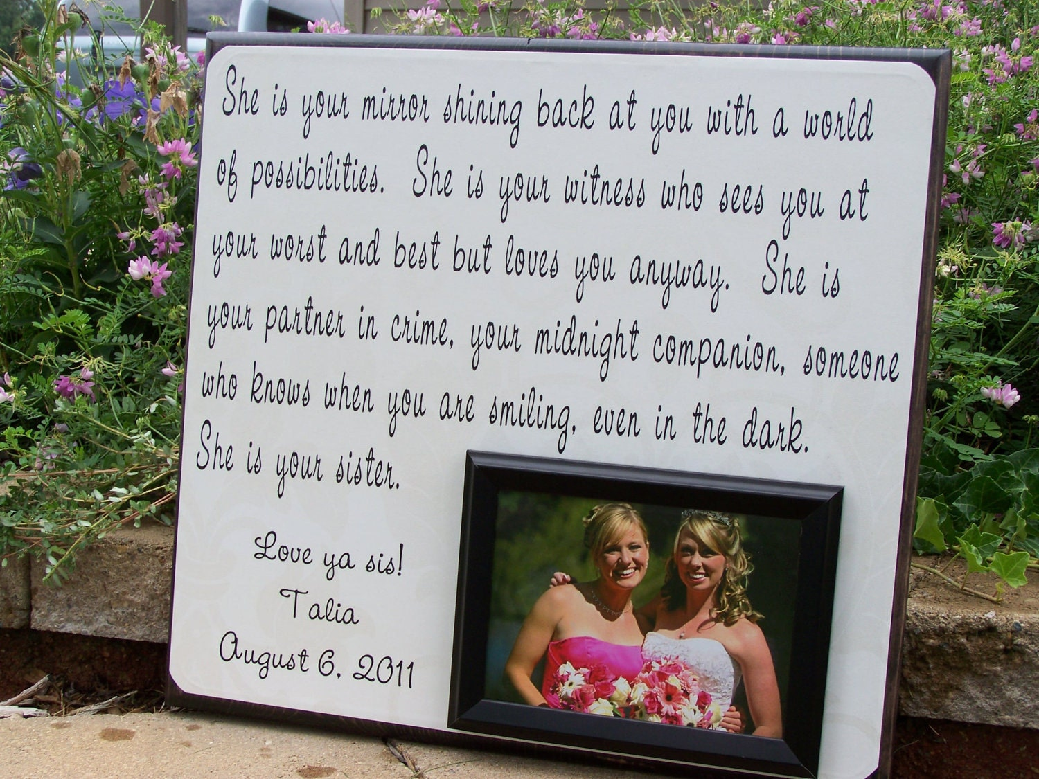 Best Wedding Gift For Cousin Sister : Handmade Wedding Photo Frame, She is Your Mirror, Sister, Bridesmaid ...