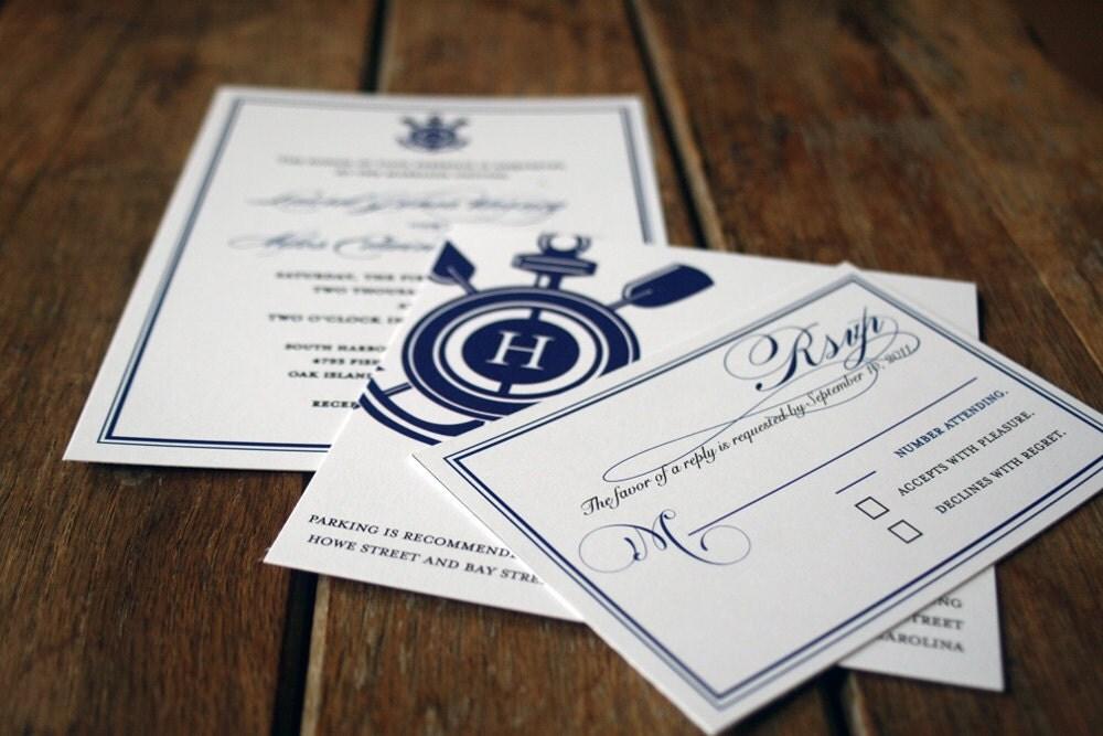 Modern Anchor Custom Wedding Invitation with Nautical Monogram