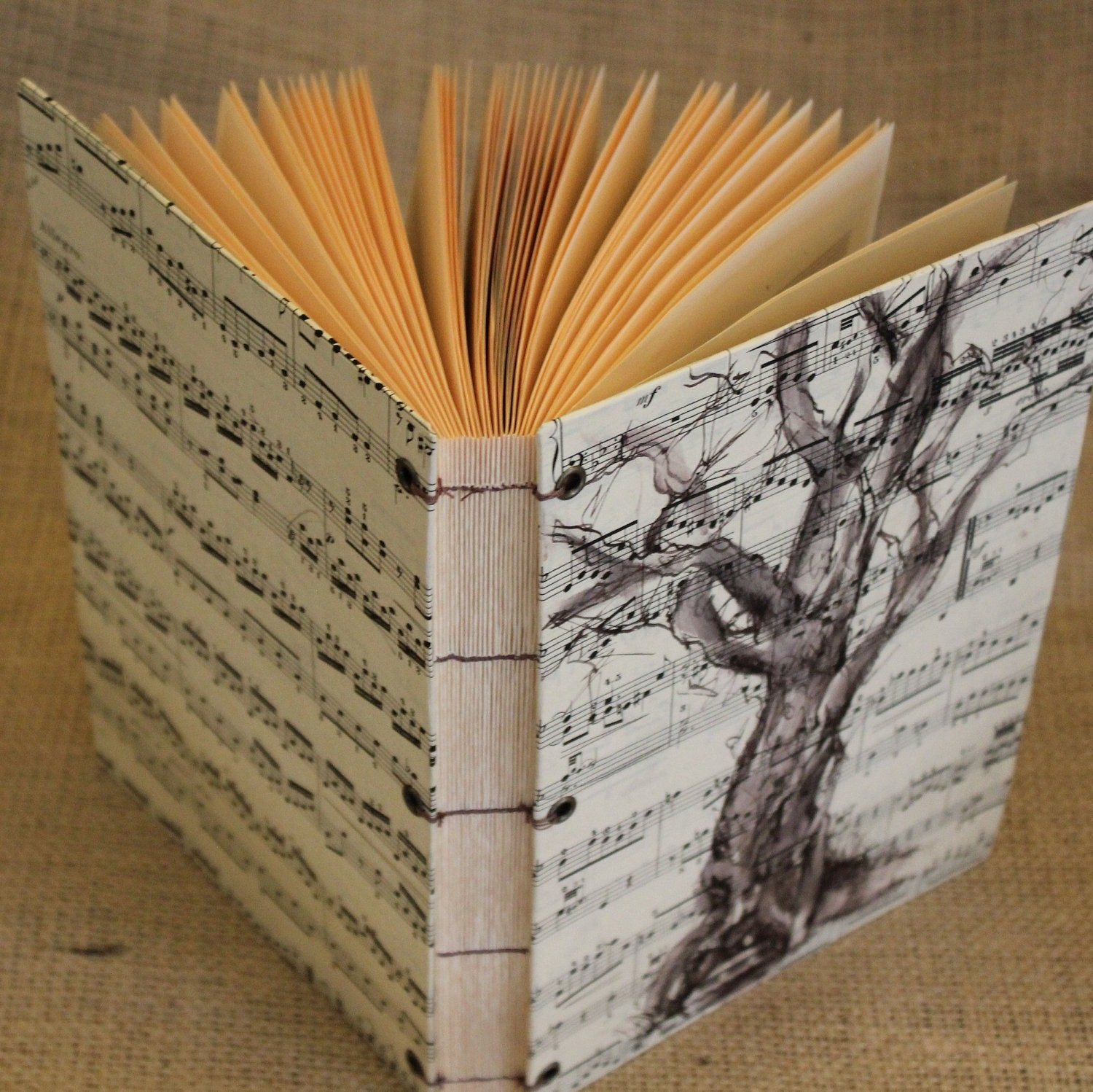 Songwriters Music Journal - Hand Bound - Pen And Ink Tree Drawing - Lined With Music Bars