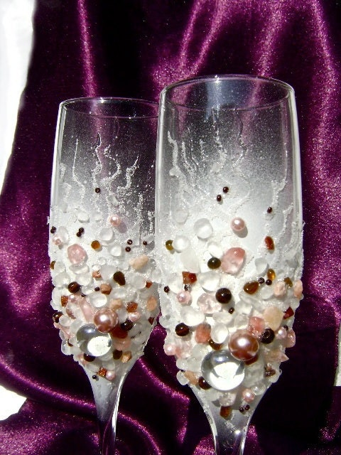 Wedding champagne glasses Hand decorated unique wedding toasting flutes