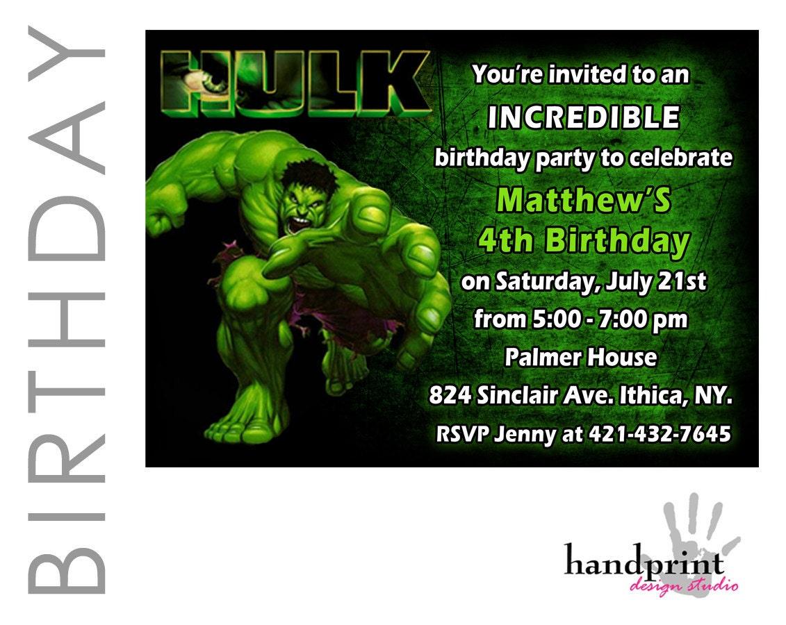Hulk Birthday Invitations and get inspiration to create nice invitation ideas