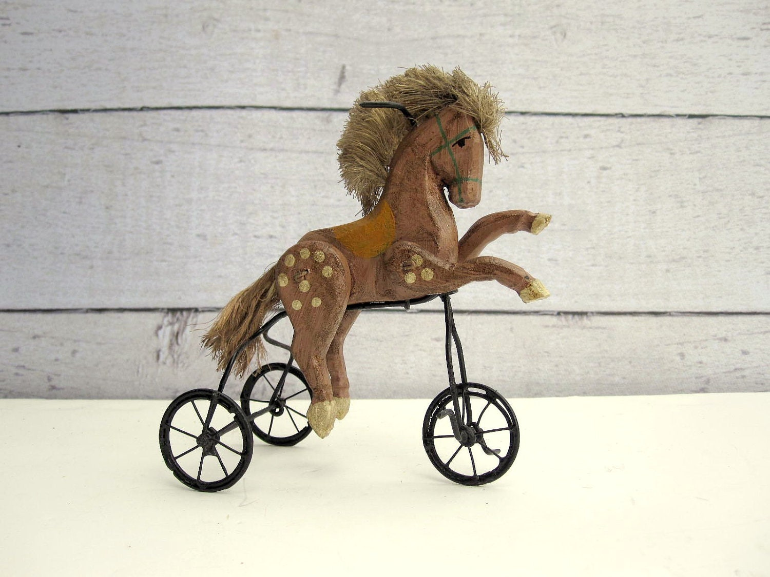 Toy Horse - Wooden Horse Tricycle - LoveButlerVintage