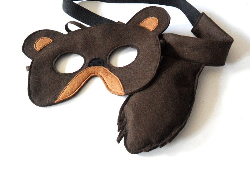 Bear Mask and Tail for Kids, Children Mardi Gras Costume, Eco Friendly Dress up and Pretend Play Toy for Girls Boys and Toddlers - BHBKidstyle