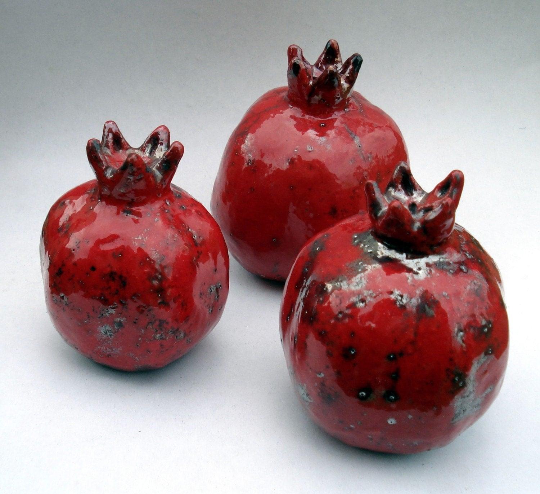 Raku Fired Ceramic Pomegranate - Large