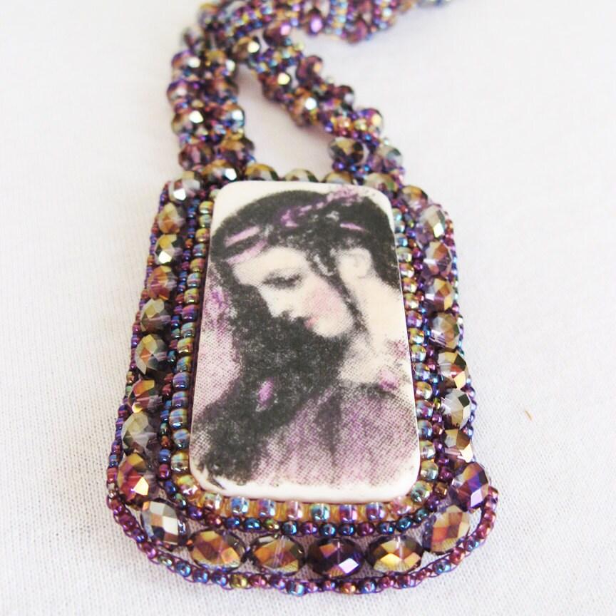Purple Lady Sparkle Necklace - jess2bead