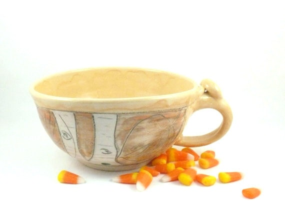 Handmade Soup Mug or Latte Cup V1 IN STOCK in yellow and orange / large latte mug / soup bowl with handle - BlueSkyPotteryCO