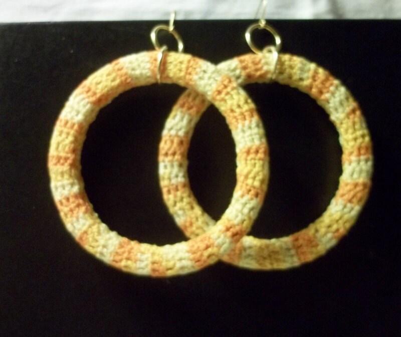 Yellow Crochet  Hoop Earrings