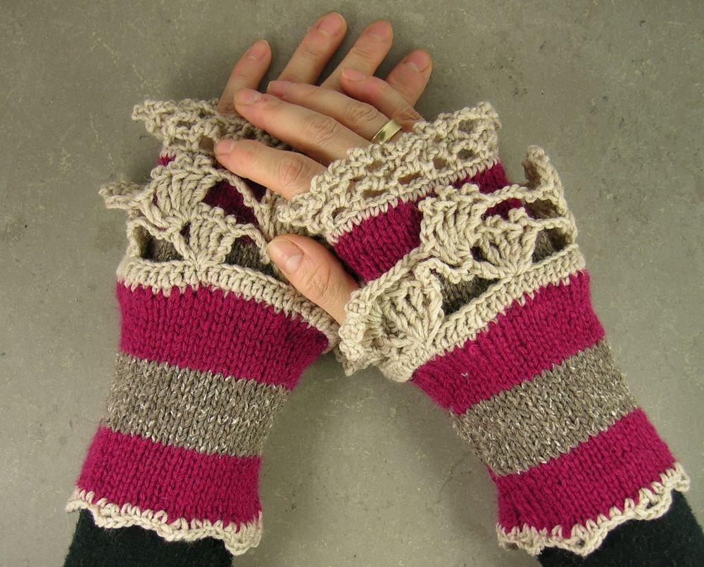 Вязаные перчатки без пальцев руки обогреватели без пальцев пурпурный варежки цикламен твид нуга бежевого кружева романтической викторианской tbteam therougett