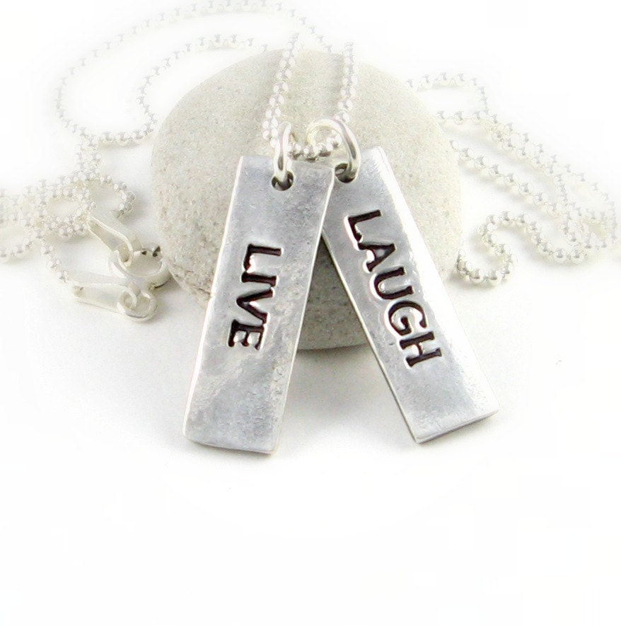 Custom Inspirational Jewelry Personalized Silver Necklace New Year's Resolution 2013 Inspirational Sayings Silver Rectangle Charms
