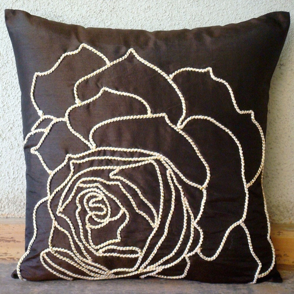 Enchanted Rose - Pillow Sham Covers - 24x24 Inches Silk Pilllow Sham Cover  with Gold Cord