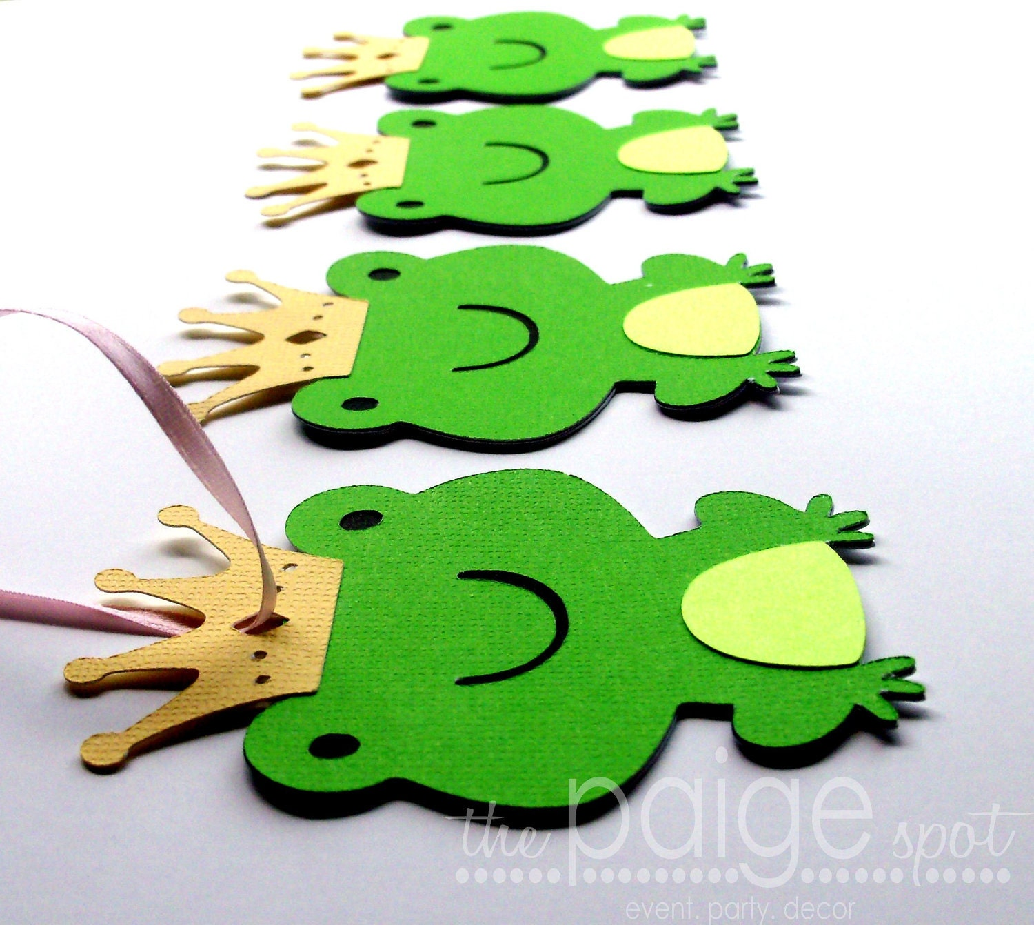 Prince Frog Favor Hang Tags - set of 12 - (green, lime green, yellow) - Fairy Tale Party - ThePaigeSpot