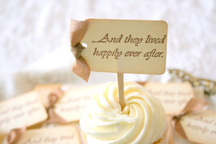 Wedding Cupcake Toppers / Food Picks - Happily Ever After - You Choose Ribbon Color