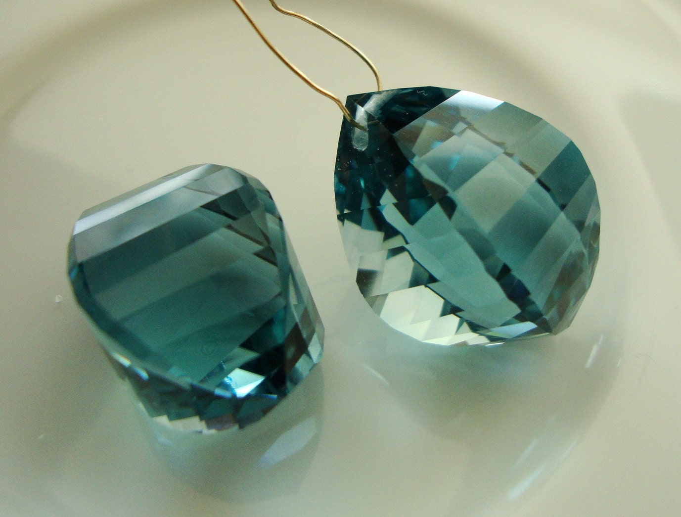 Gorgeous Blue Green Amethyst Twisted Briolettes Pair Drilled - rubytrail