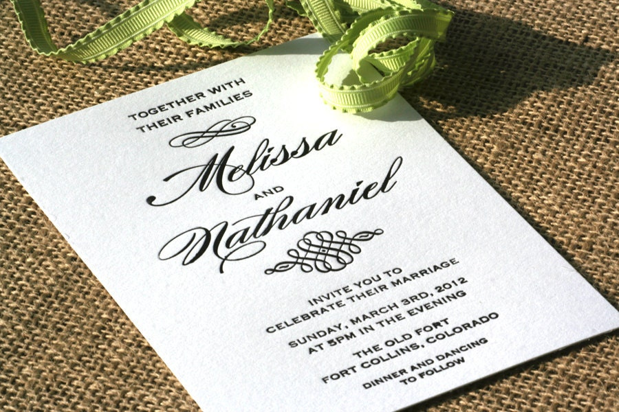 Elegant Letterpress Wedding Invitation With Script Fonts and Flourish Design