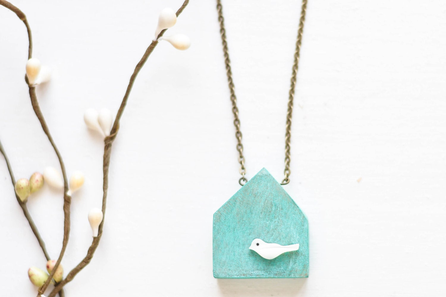 Wood house necklace with shell bird - blue wooden house pendant - patina - mint - CvetCvet