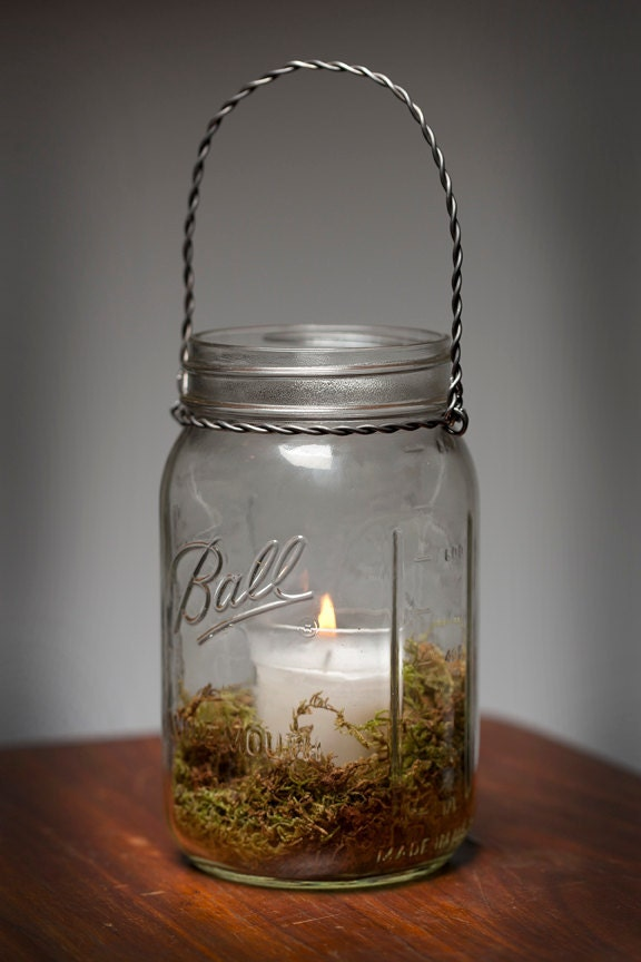 Moss Hanging Light Mason Jar Lamp Candle Lantern - Wedding Centerpiece Outdoor Dinner Party Holidays