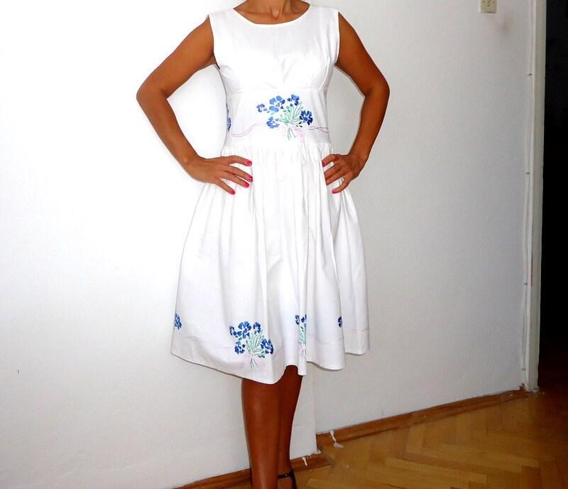 White Summer wedding dress Vintage inspired needle embellishments midi