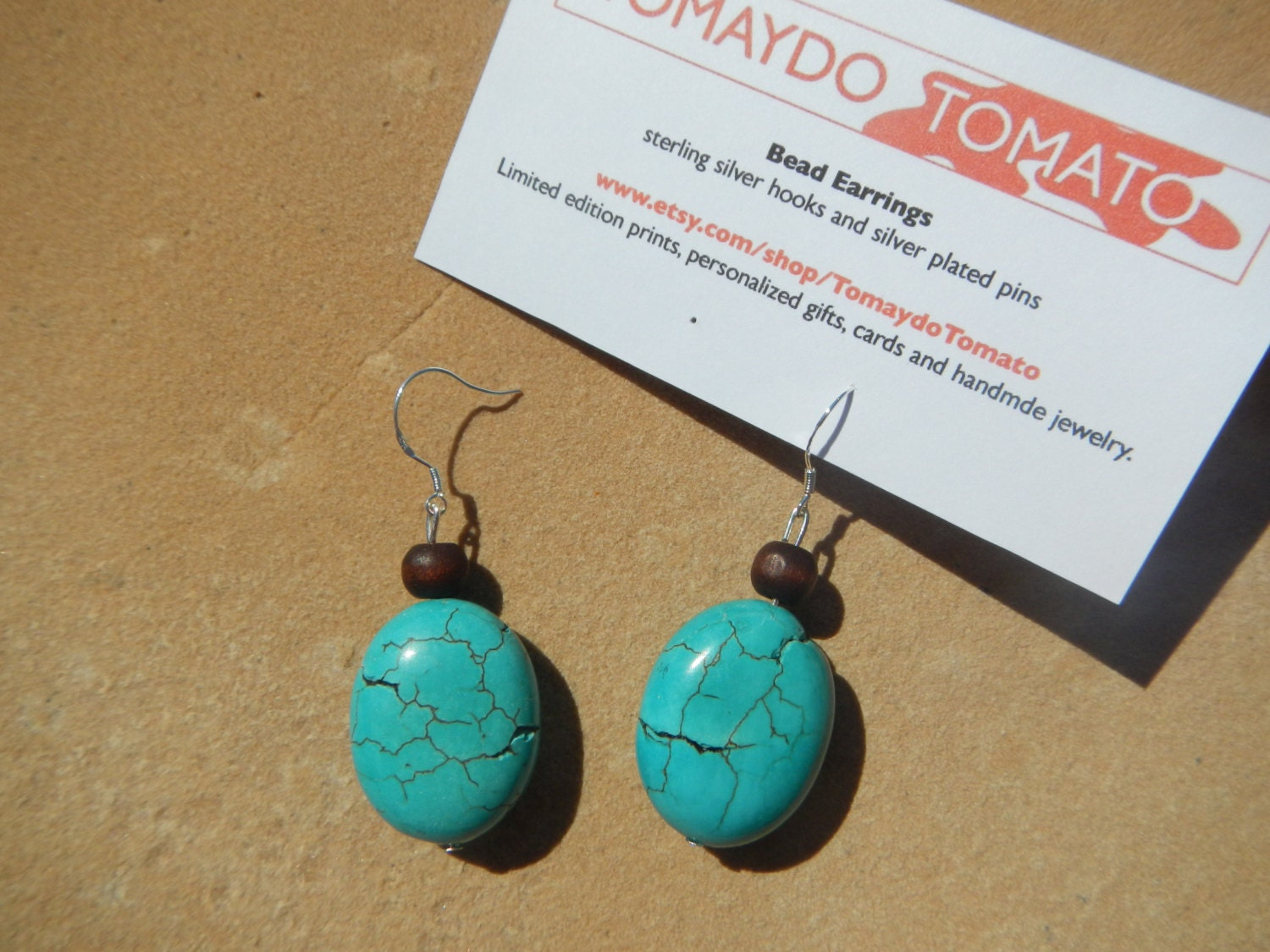 Wood and Turquoise Bead Earrings