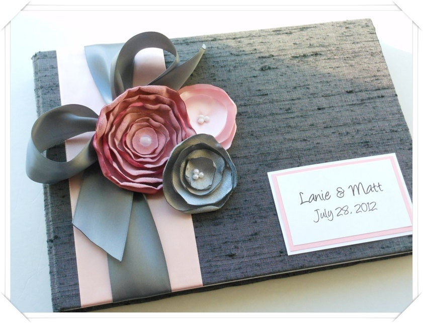 Gray and Pink Custom Wedding Guest Book with Flowers (made to order)