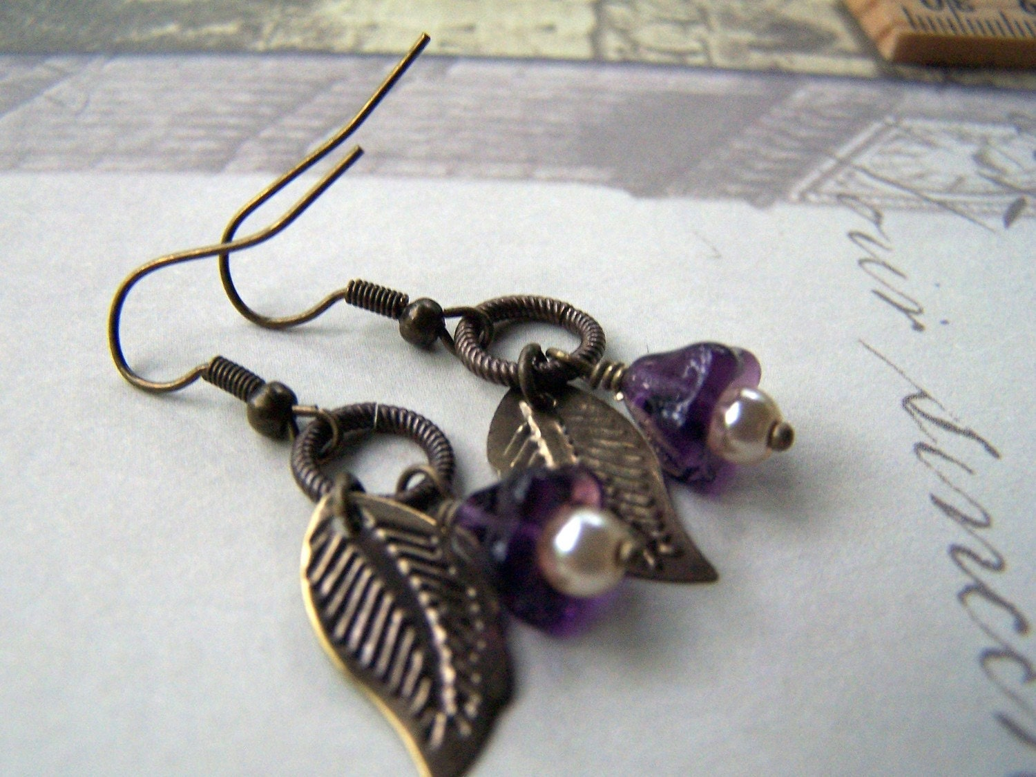 Purple Flower Earrings - Vintage Earrings - Estate Style Romantic Neo Victorian Vintage Inspired - stonehorsedesigns