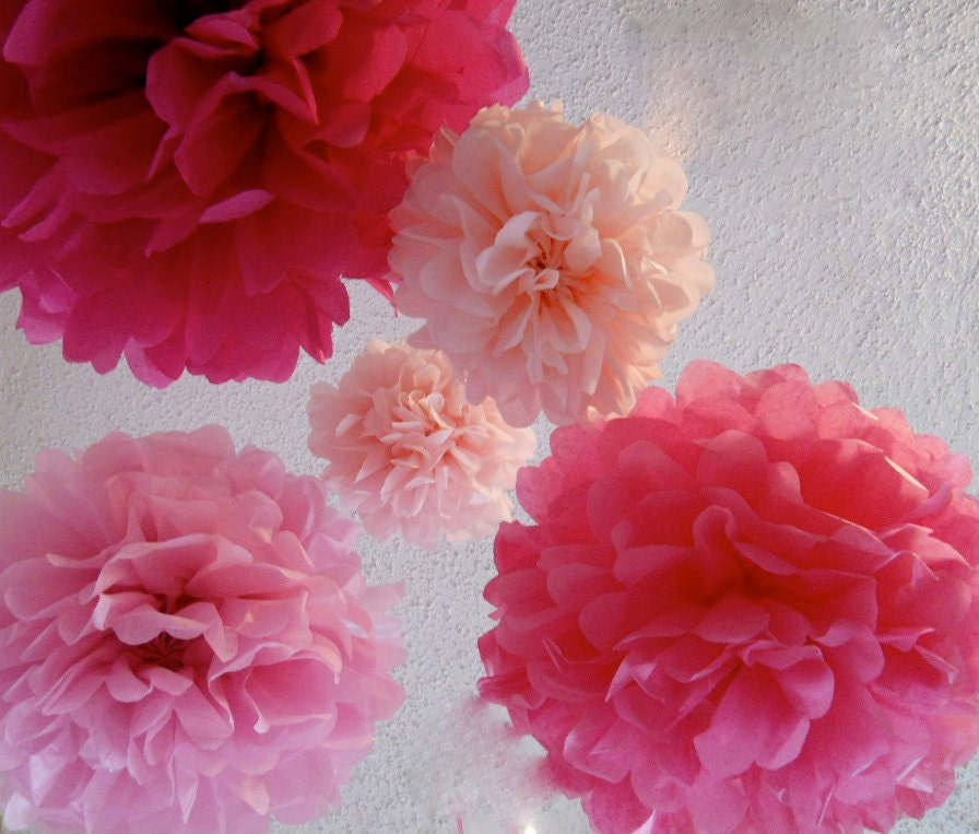 5 Tissue Paper Poms  in Pink party