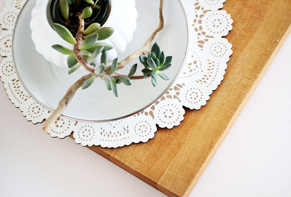 wood doily for easter table spring decor centerpiece - uncommon