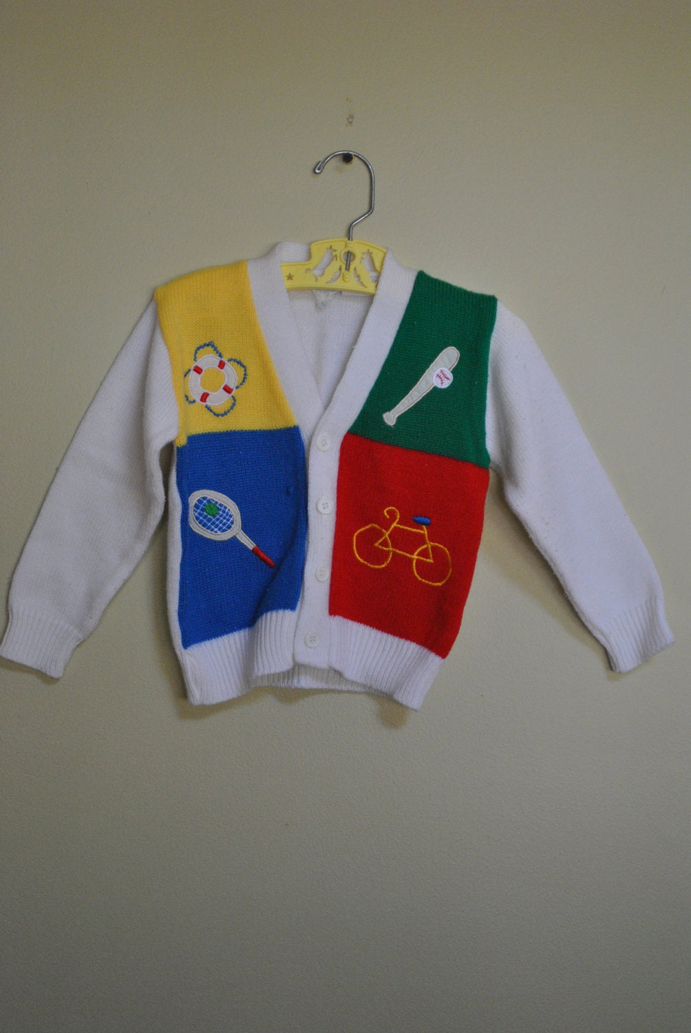 Vintage VARSITY Style Sweater Sports Themed Color Block size 3T - 4T - IvoryBerry