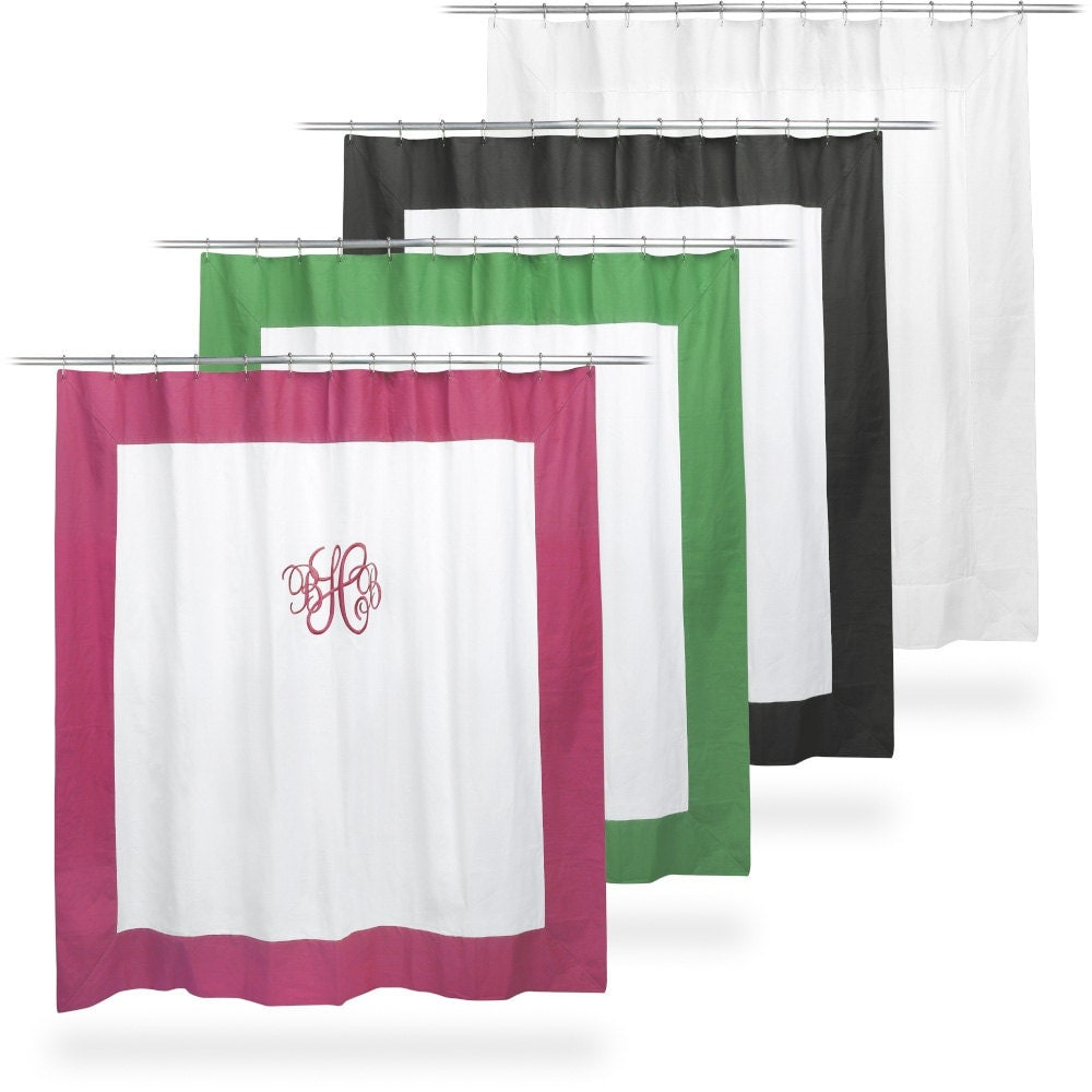 Monogrammed Shower Curtain White Black Hot by MonogrammedGiftShop