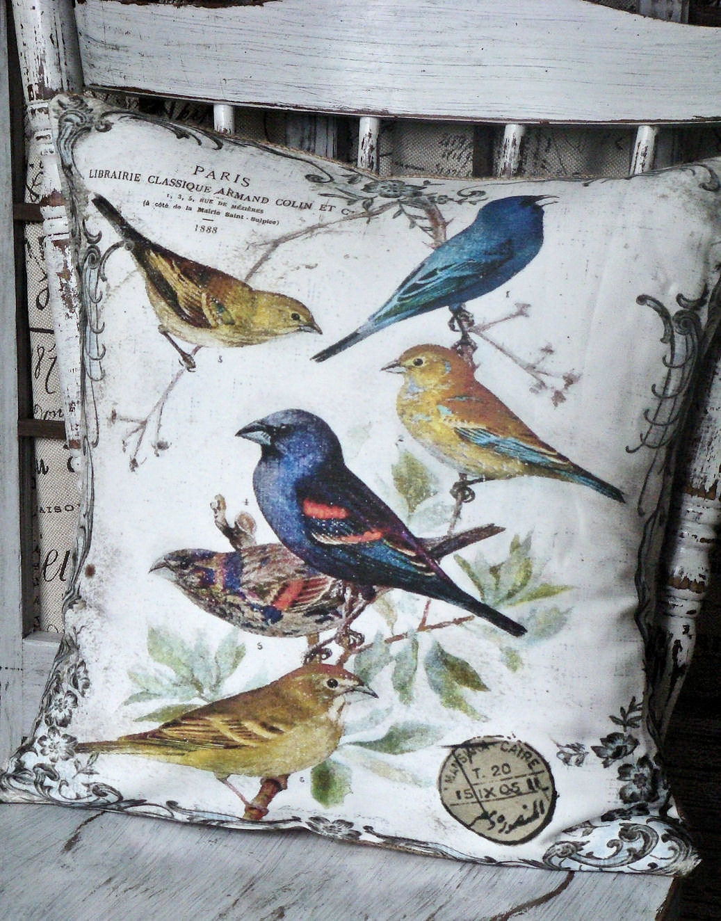 Pillow Cover..The Aviary...Vintage Bird throw Pillow cotton and burlap pillows Cover
