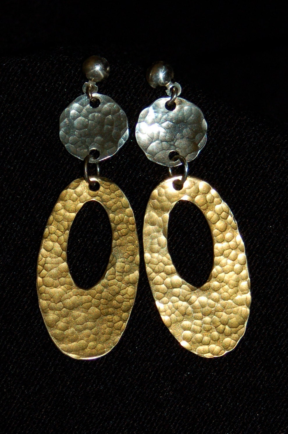 Sterling and brass dangle earrings