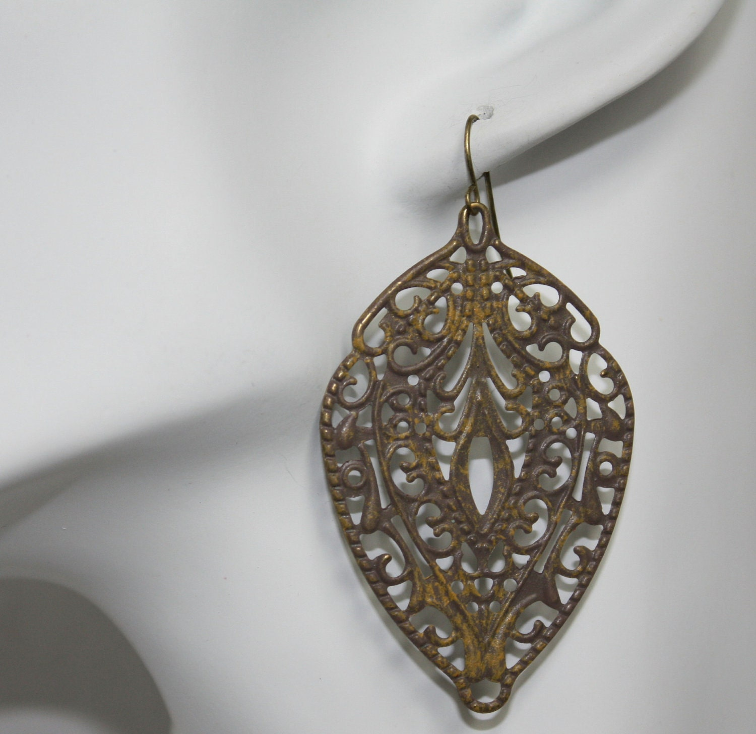 Yellow Brown filigree earrings - FashionDesignbyLisa