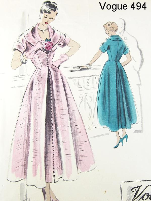Vogue 40s Couturier Design Dress Pattern - Vogue 494 - Misses' One-Piece Dress - SZ 14/Bust 32