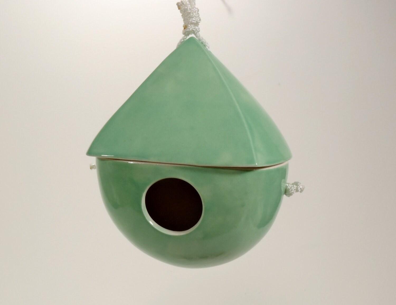 Turquoise Porcelain Birdhouse - LandMstudio