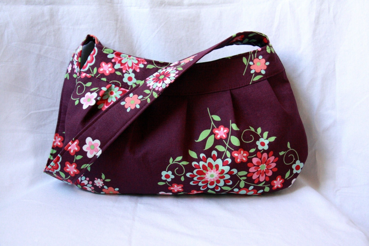 Reserved for traceycoppcock: Buttercup Bag with Adjustable Strap - Amy Butler Memento Floral Purse with Polka Dot Lining