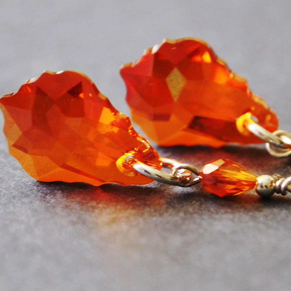 Swarovski Crystal Earrings, Red Orange Earrings, Crystal Drop Earrings, Handmade Sterling Silver Jewelry - MyDistinctDesigns