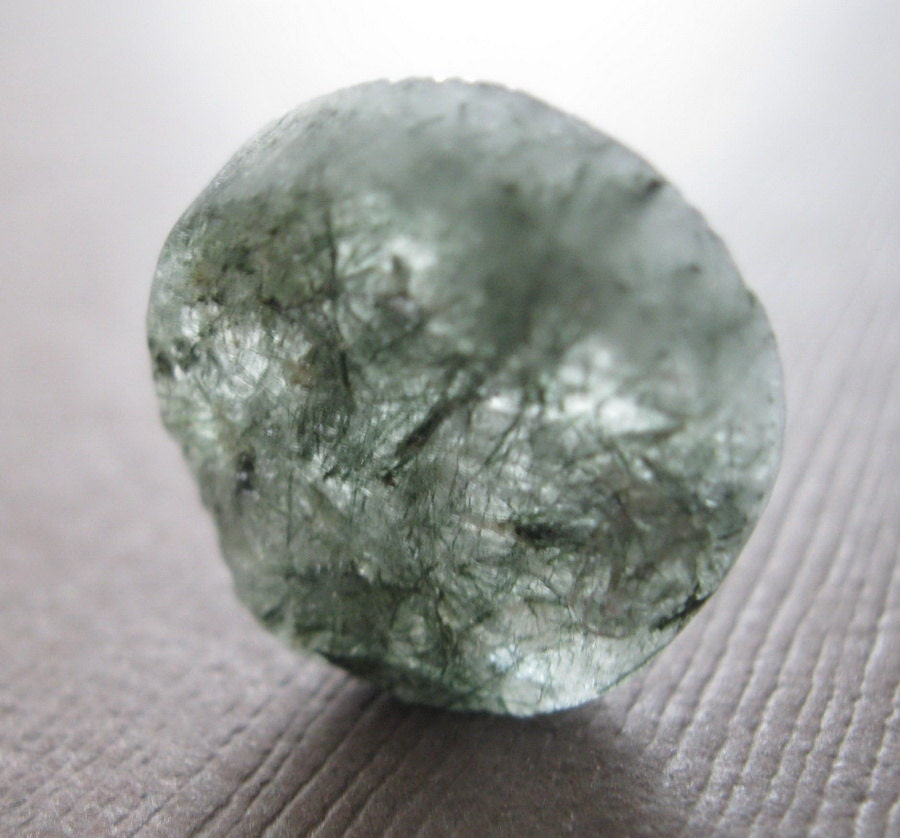 Raw Moss Green Rutilated Quartz Rough Slab Chunk Nugget Round Cabochon - AMD