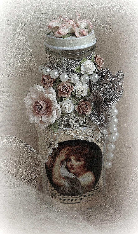 потертый шик, потертый шик декора дома, свадьба, свадебный, изменен бутылку