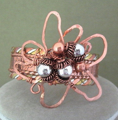 Cuff Bracelet Copper Wire Wrapped Flower - ChickenLittleJewelry