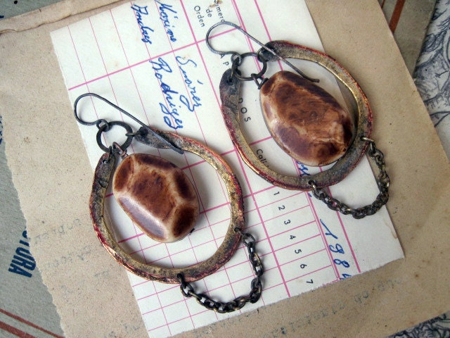 Semibarbarous Zone. Vintage Tribal Assemblage Earrings