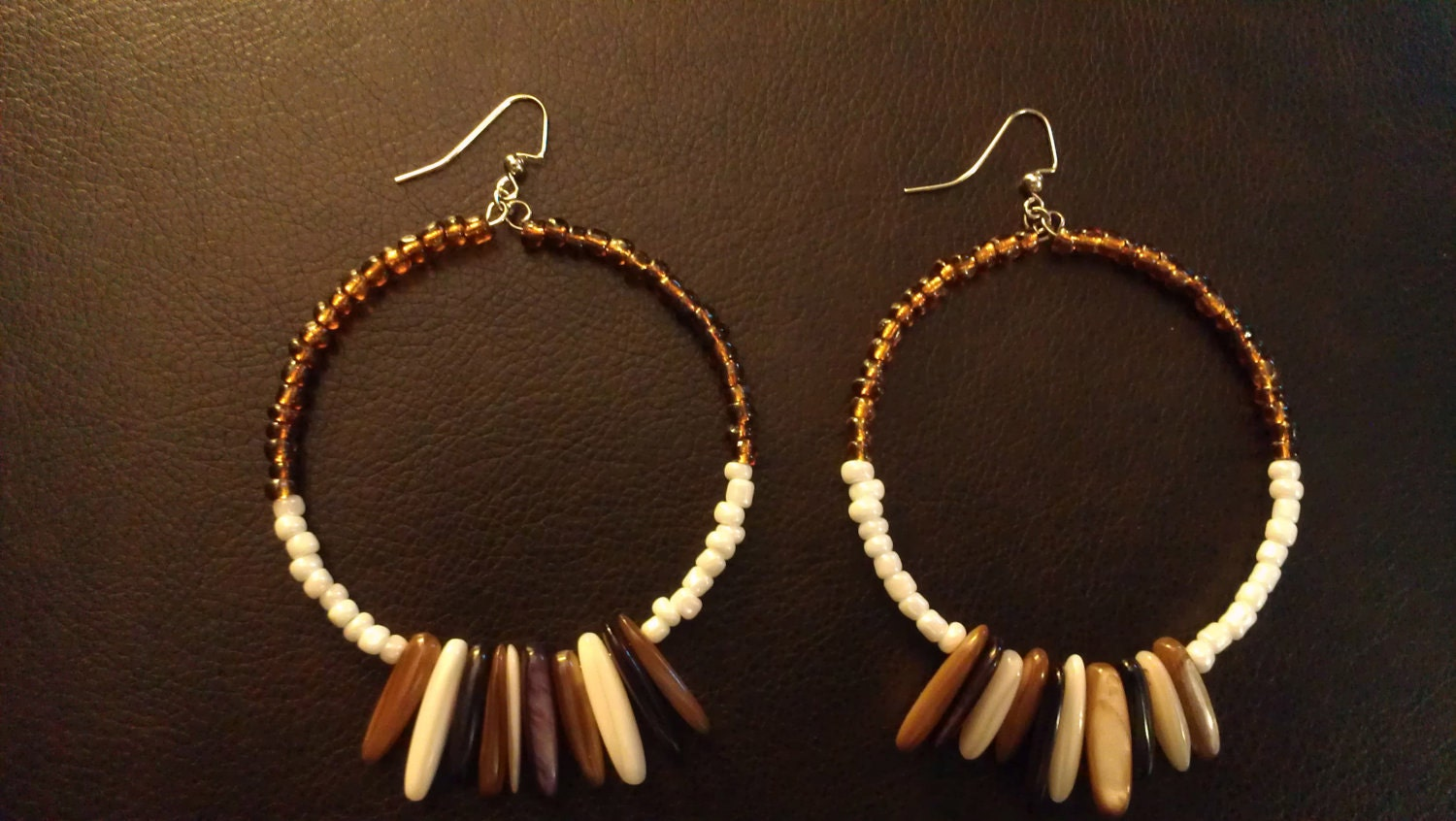 """Amber and White Beaded Hoop Earrings with Purple, Brown, and White Glass Hanging Beads- """"Feathered"""""""