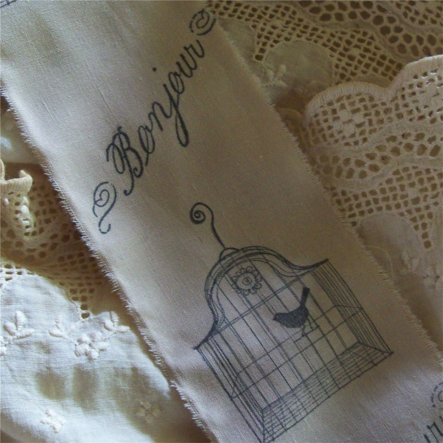 Treasury Item French Inspired - Bonjour Bird Cage - Hand Stamped Ribbon Trim