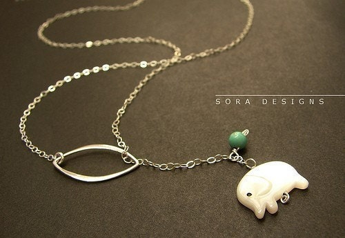 Elephant necklace - sterling silver elephant lariat, white elephant necklace, tiny elephant charm necklace