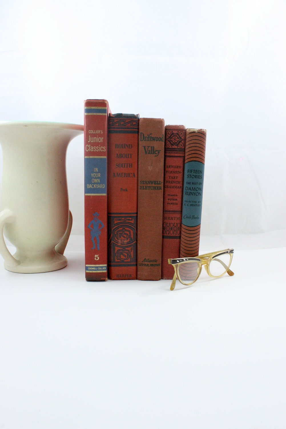 mid century RED vintage books instant collection farmhouse library - beguilingvintage
