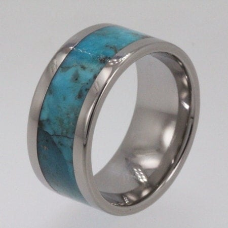 Titanium Wedding Band Turquoise Ring