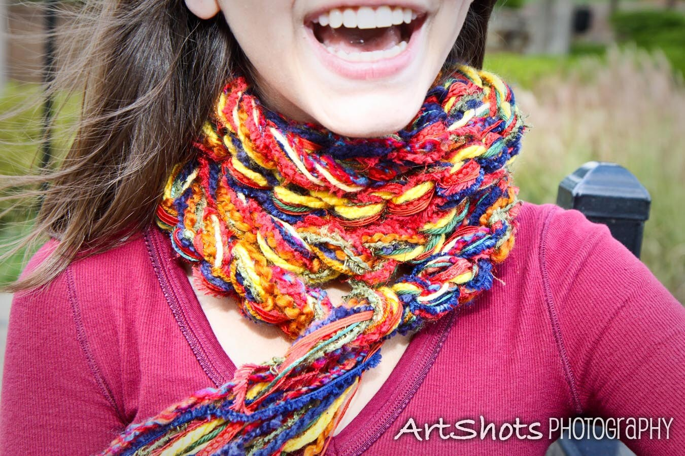 Crochet Scarf  The Pippy CLASSIC COLORS Scarf  Navy Red Gold Rust  Crochet Scarf Two Colors