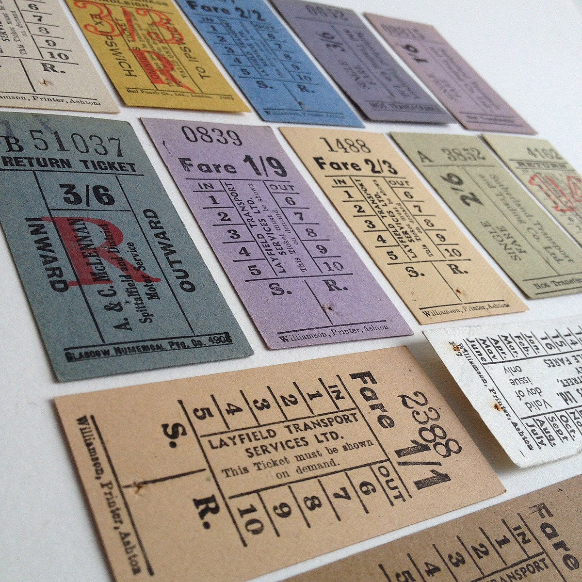 14 vintage British tickets, set of old pre-decimalisation ticket with values in various fractions